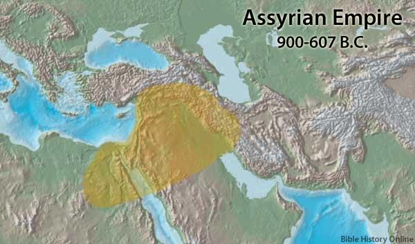 อาณาจักรอัสซีเรีย ปีที่ 900-600 ก่อนคริสตศักราชภาพจากbible-history.com